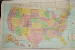 Vintage-Rand-McNally-Map-of-the-United-States-34-x-52-Excellent-Condition-1956