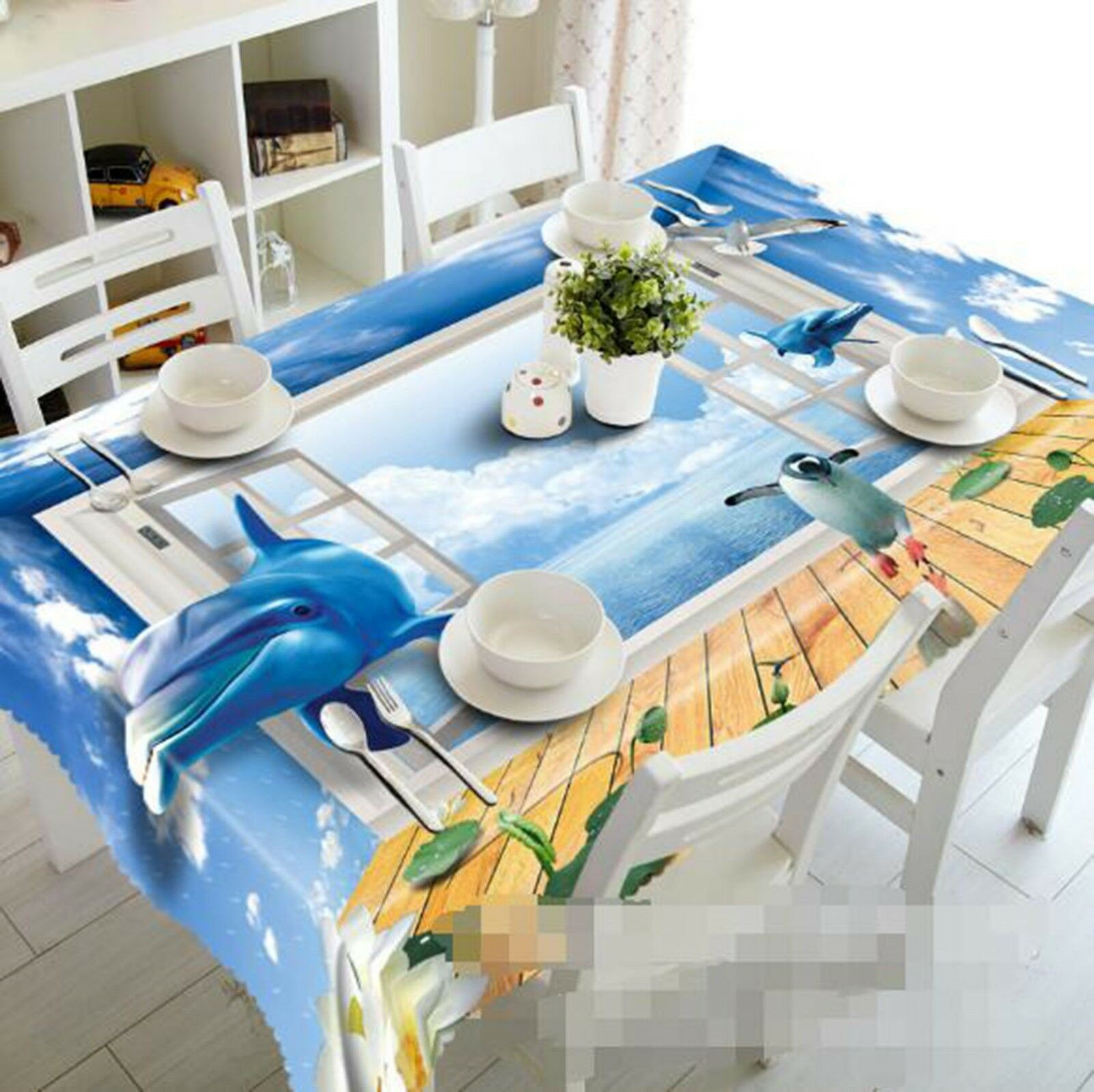 3D Dolphin Penguin 35 Tablecloth Table Cover Cloth Birthday Party Event AJ Lemon