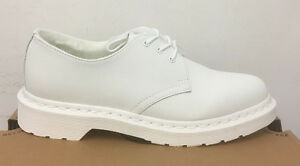 DR MARTENS 1461 MONO FL WHITE CASCADE SPLIT LEATHER SHOES SIZE UK 4