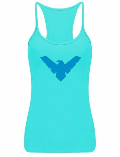 Night Wing Logo Print Racerback Ladies Neon Lycra Vest Womens Party Sports Wear