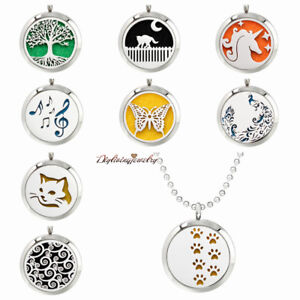 Aroma-Pendant-Necklace-Stainless-Steel-Essential-Oil-Diffuser-Locket-30mm-Gift