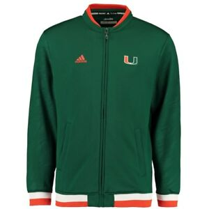 490e38b7c4 Details about mens M adidas miami hurricanes/canes players sideline track  jacket green/orange