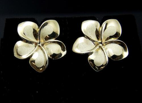 16 mm 14K solide or jaune fantaisie Hawaïen Plumeria Flower Stud Post Earrings