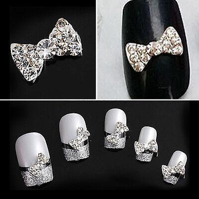 10pcs New Crystal Rhinestone 3D Nail Art Bowknot Tie Bow Stickers Slice Manicure