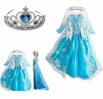 Frozen Elsa Anna Costume Disney Princess Girls Fancy Outfit Long Dress+Crown