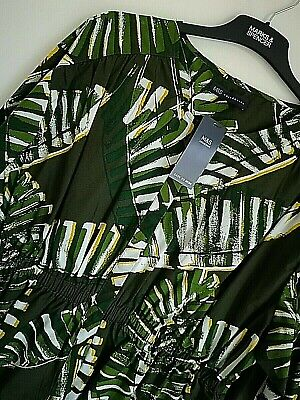 LADIES M/&S PLUS SIZE 26 OR 28 GREEN EASY IRON PURE LINEN SHIRT BLOUSE FREE POST