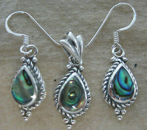Abalone Paua Shell & 925 Sterling Silver Earrings UW0Rw