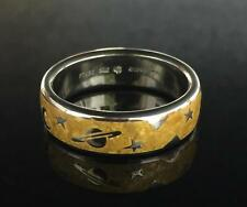 Platinum and 24 Karat Gold MoonBeam Wedding Band by Steven Kretchmer Size 10 3/4