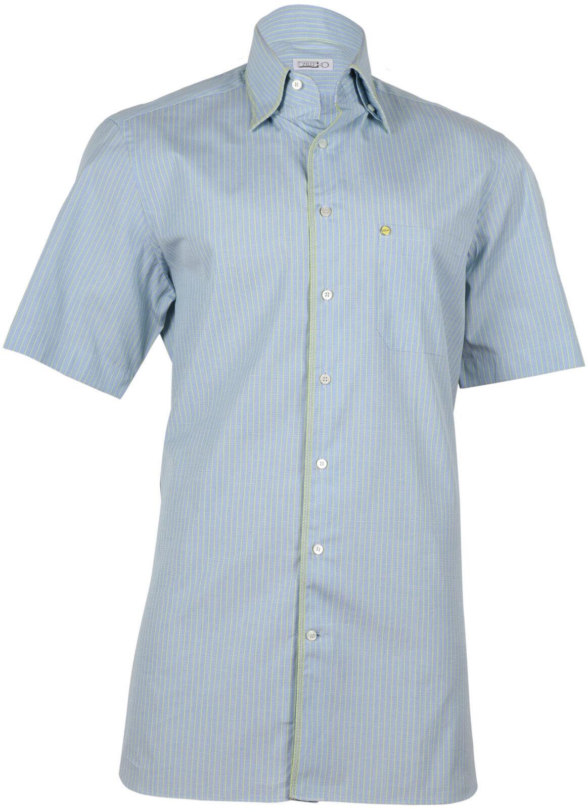 Zilli Men's bluee Green Cotton Shirt Short Sleeve Slim fit,Size 40(15.75), 46(18)