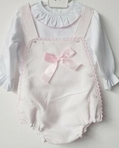 2311278a0819 Spanish Style Baby Girl Pink Ribbon   Lace Dungaree Romper Set ...