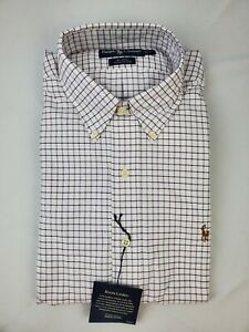 Ralph-Lauren-Blake-Men-039-s-Purple-White-Graph-Check-Long-Sleeve-Oxford-Size-L-NWT