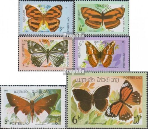 Laos 554559 complete issue unmounted mint never hinged 1982 Butterflies