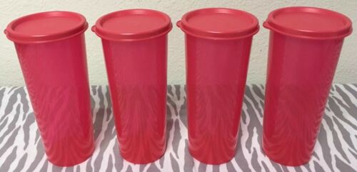 Tupperware Straight Sided Tumblers Set of 4 Coral Red 16 oz New