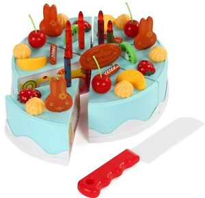 Details About 37 Piece Pretend Role Play Kitchen Toy Happy Birthday Cake Food Cutting Set Kids