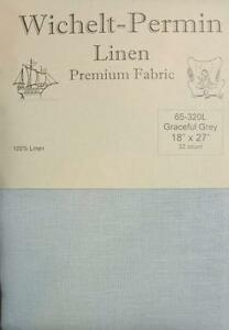 Wichelt-Permin-PREMIUM-LINEN-FABRIC-32-Ct-Cross-Stitch-18-x-27-GRACEFUL-GREY
