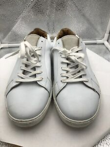 H\u0026M White Leather Sneakers, Men's Size