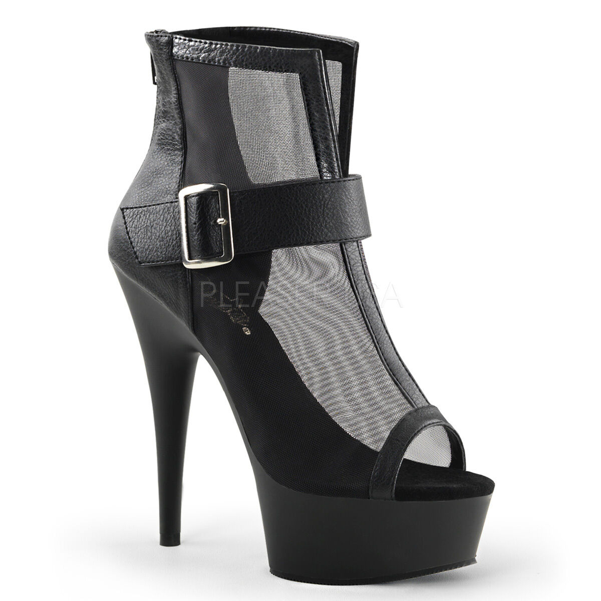 PLEASER Sexy Platform Mesh 6  Stiletto Heel Buckle Open Toe Ankle Booties Boots
