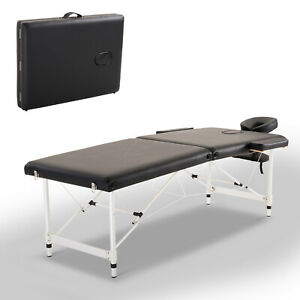 2-Section-Massage-Table-Spa-Facial-Bed-Adjustable-Portable-w-Carry-Case-Black