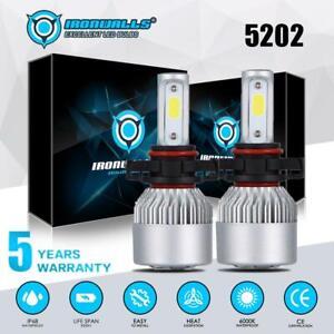 2x-IRONWALLS-5202-H16-LED-Headlight-Bulbs-6000K-Xenon-White-2000W-High-Power-HID