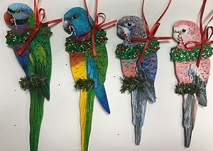 Details about Parrot Christmas Ornament Moustached Scarlet-Chested Rosey  Bourke's Parakeet