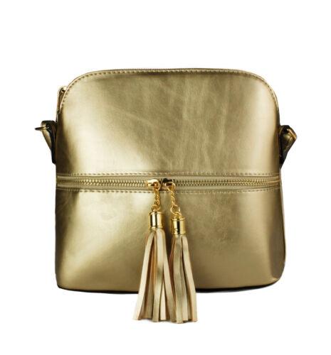 Women/'s Small Shoulder Messenger Handbag// Ladies Tassle Zip Cross-body Bag Purse