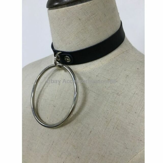 Punk Goth Kawaii Handmade Leather Hanging Big O Ring Choker Collar Necklace