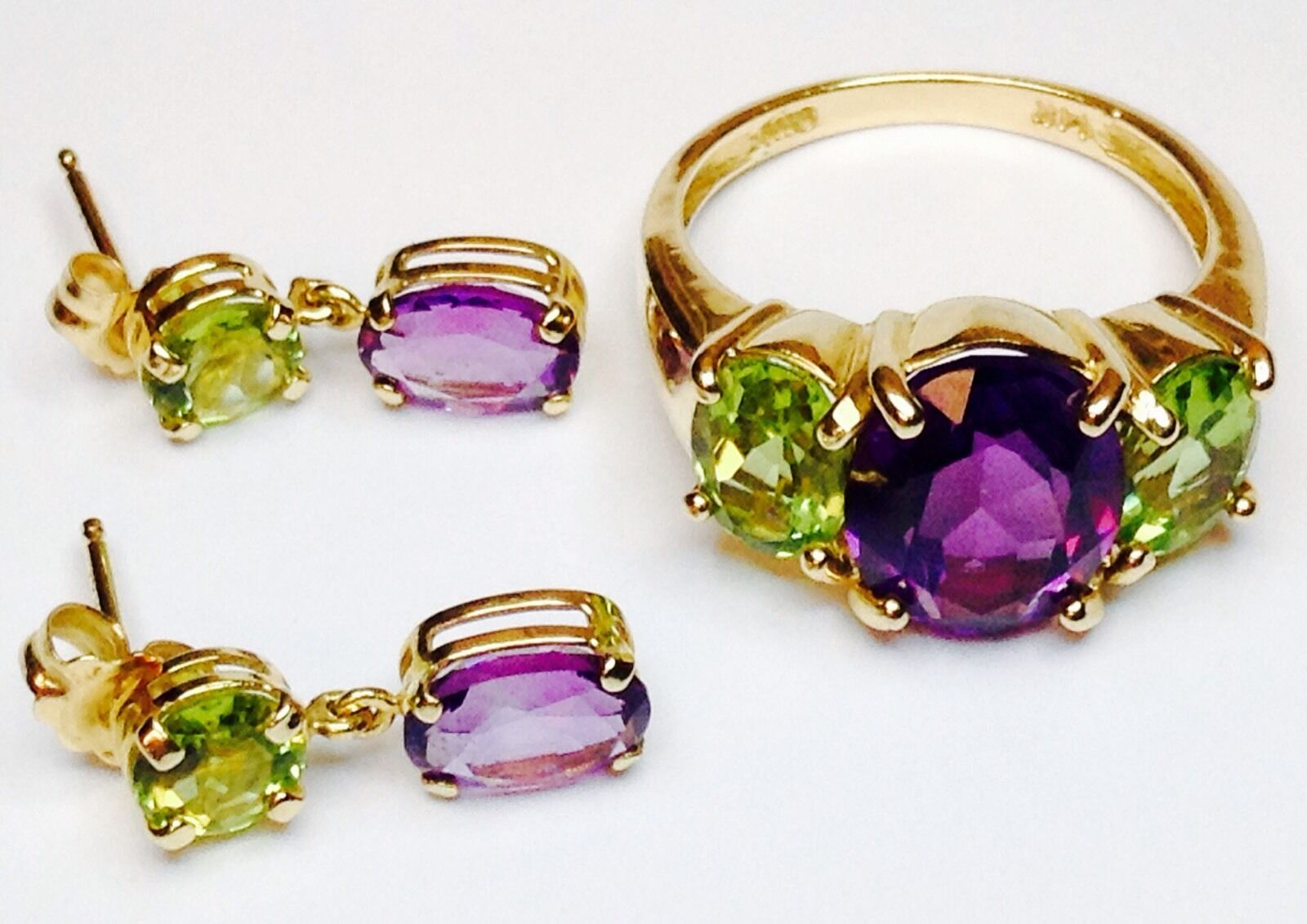 Amethyst And Peridot Modern Ring Size 6 And Earrings SET (J538)