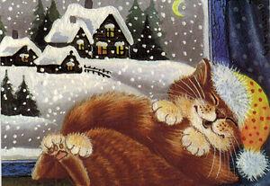 RELAX-IN-COMFORT-Kitten-sleeps-on-winter-night-Russian-card-by-Irina-Garmashova