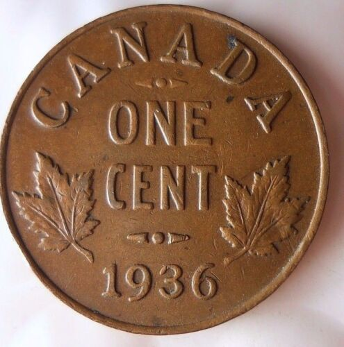Excellent Collectible Coin FREE SHIPPING 1936 CANADA CENT Big Canada Bin