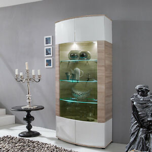neu vitrine hochglanz wei eiche s gerau glasvitrine. Black Bedroom Furniture Sets. Home Design Ideas