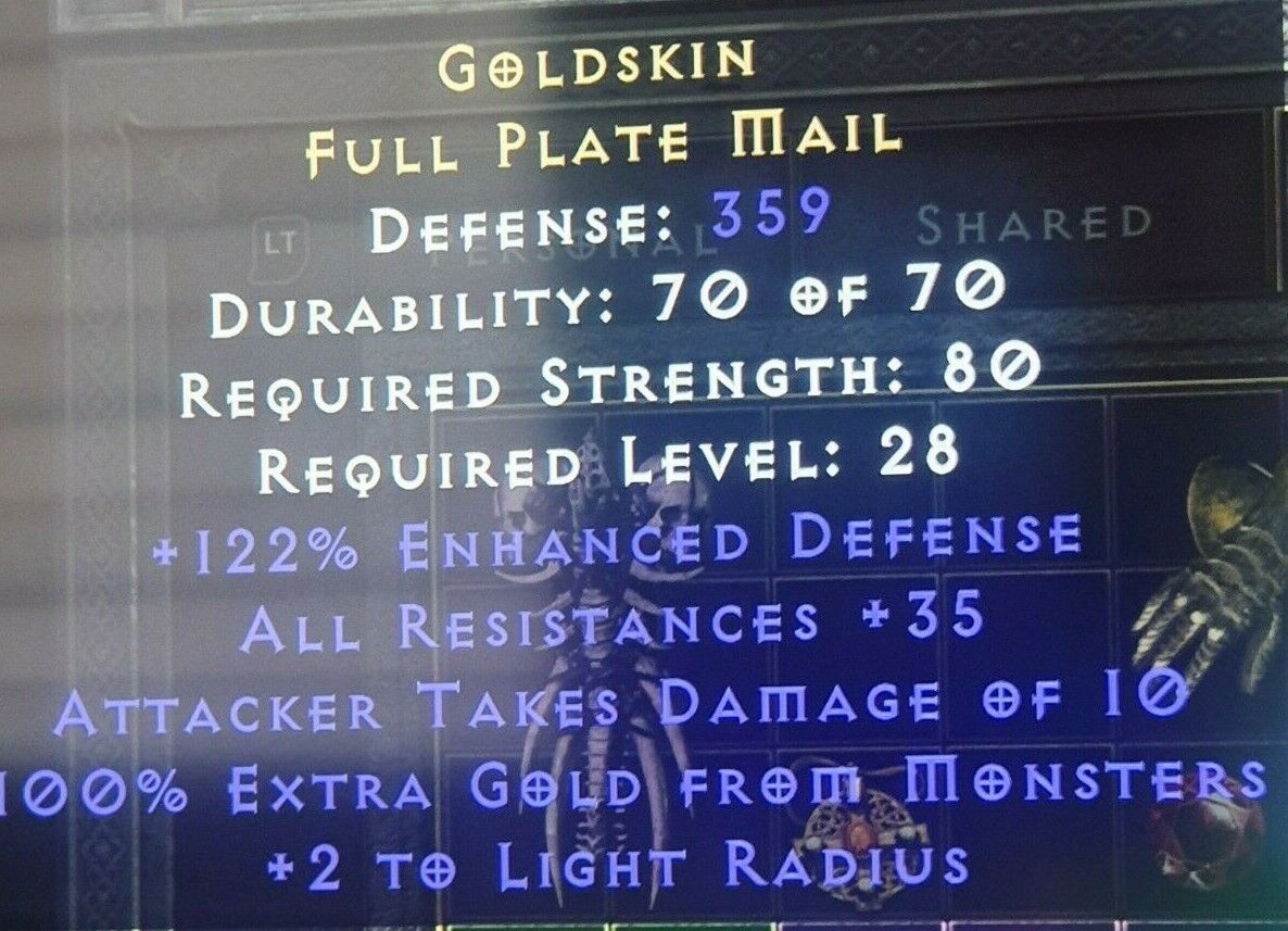 Diablo 2 Resurrected Goldskin armor 359 def +35 all res 28 lvl XBOX softcore