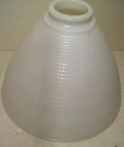 Vintage-Globe-Milk-Glass-8-039-039-Inch-Lamp-Shade-Waffle-Pattern