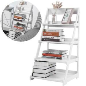 4 Tier Wooden Ladder Shelf Extra Storage Space Shelving ...