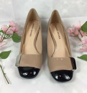 Beige \u0026 Black Shoes W/Silver Accent