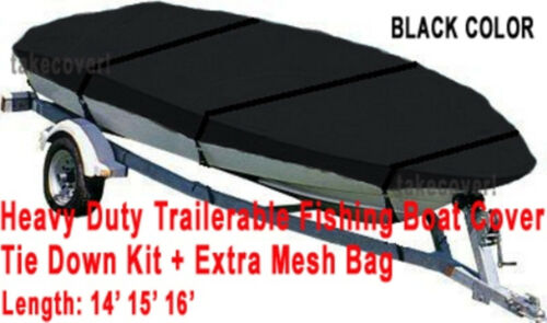 Trail-able Deluxe 14/' 15 16/' Aluminum Fishing V-Hull Boat Cover Black Color BBTC