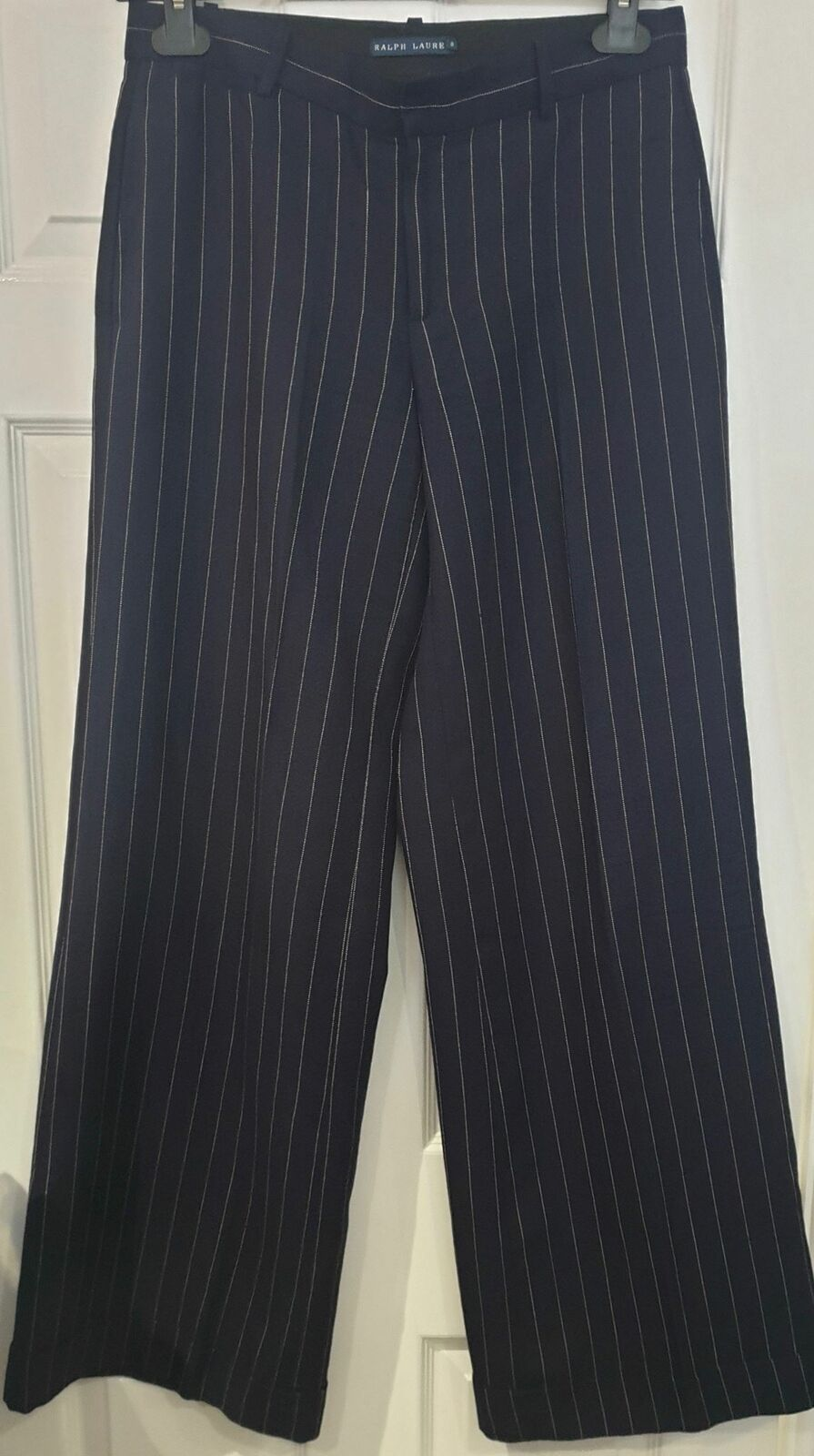 RALPH LAUREN Blau Label Navy Blau & Weiß Pinstripe Wide Leg Trousers Pants UK12