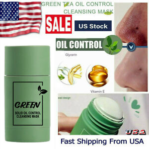 Green Tea Clay Stick Purifying Facial Deep Cleansing Blackhead Acne Remover Mask