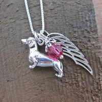Dachshund Large Angel Wing Sterling Silver Necklace -free Shipping