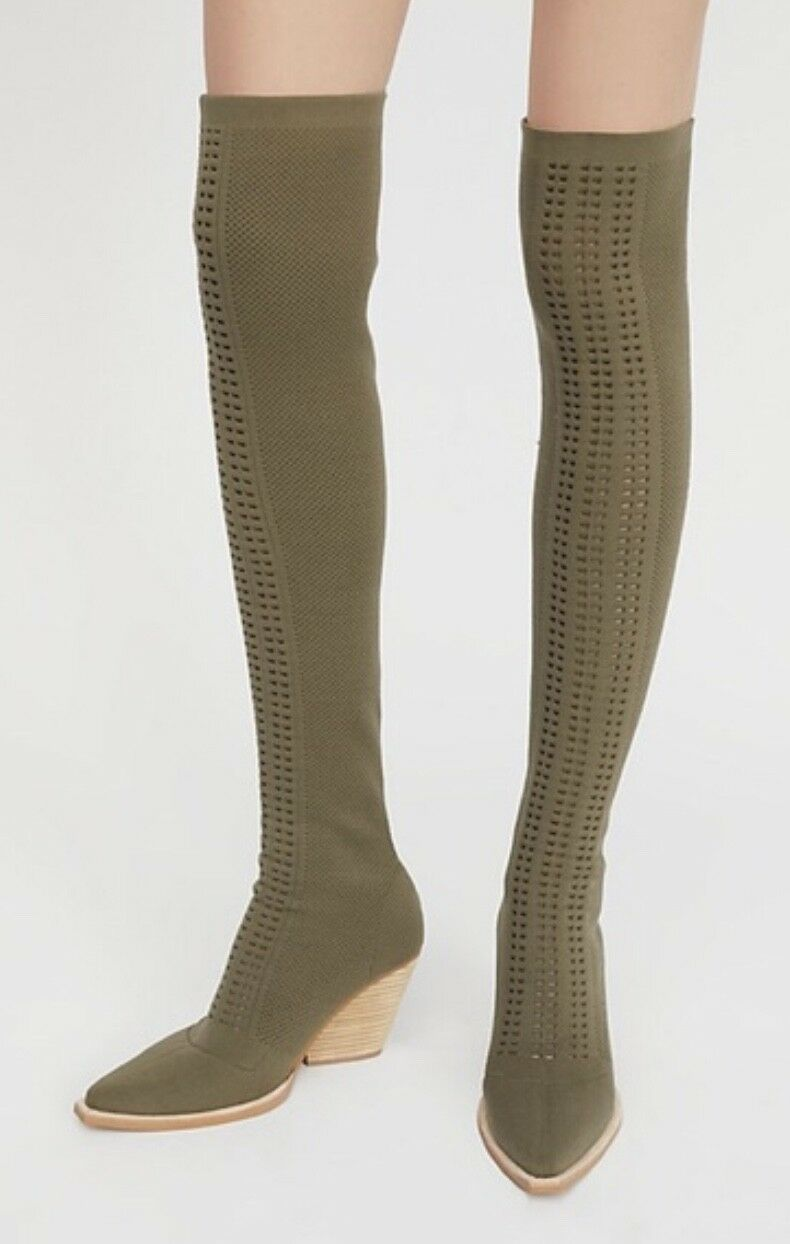 NEW Jeffrey Campbell olive Stretchy Cut Out Fabric Over Knee Boot 6