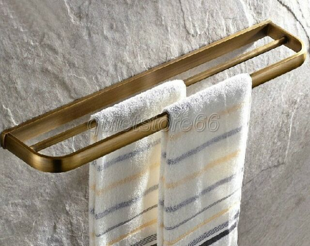 Wall Mounted Antique Brass Double Towel Rack Bathroom Shelf Bar Rail qba173