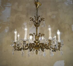 BRASS-CRYSTAL-CHANDELIER-OLD-FIXTURE-CEILING-LAMP-RARE-ORNAMENTS-8-LIGHT