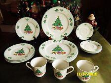 16 Gibson Christmas Noel Morning Dinnerware Dinner Salad Plate Cups ...