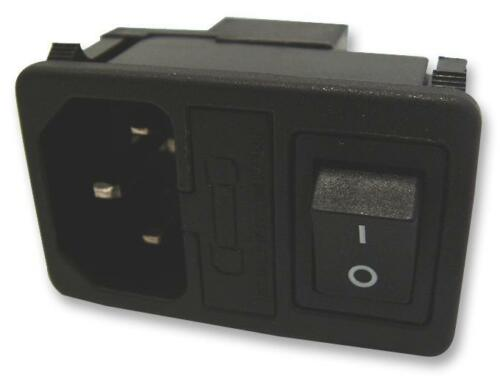 Fused and Switched IEC C14 Mains Inlet with Black DPST