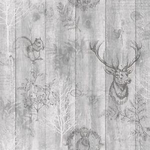 Details zu Hirsch Holzplatte Tapete Grau/Silber - Holden 90090 Neu