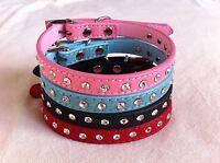 Pet Dog Puppy Cat Kitten Collar Leather Suede Diamante Crystal Rhinestone pink