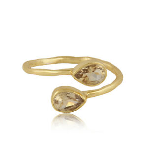 Natural-Citrine-Gemstone-Adjustable-18k-Gold-Plated-Silver-Designer-Ring