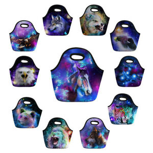 Neoprene-Lunch-Tote-Handbag-Animal-Wolf-Portable-Women-Outdoor-Picnic-Lunchbox