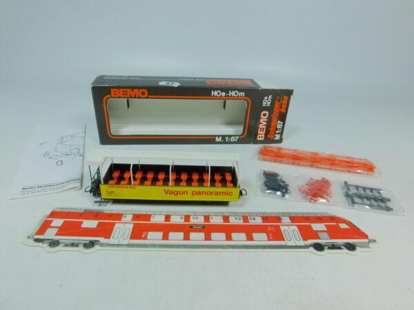 Au706-0,5 # Bemo H0m / Dc 3280 107 Vagone Panoramico / Vagun 2097 Rhb Mint + Box Morbido E Antislipore
