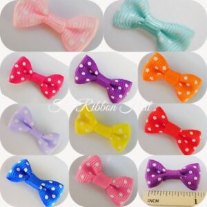 3cm x Pkt 10, 10 Colours Available, Polka Dot/Spotty Grosgrain Ribbon Bow Ties.