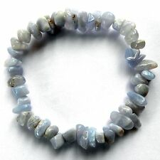 **BEAUTIFUL BLUE CHALCEDONY CRYSTAL CHIP BRACELET - HEALING / REIKI**